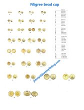 20000pcs jewelry fingding brass filigree beads cup bead cap wholesale price raw brass  size 7mm