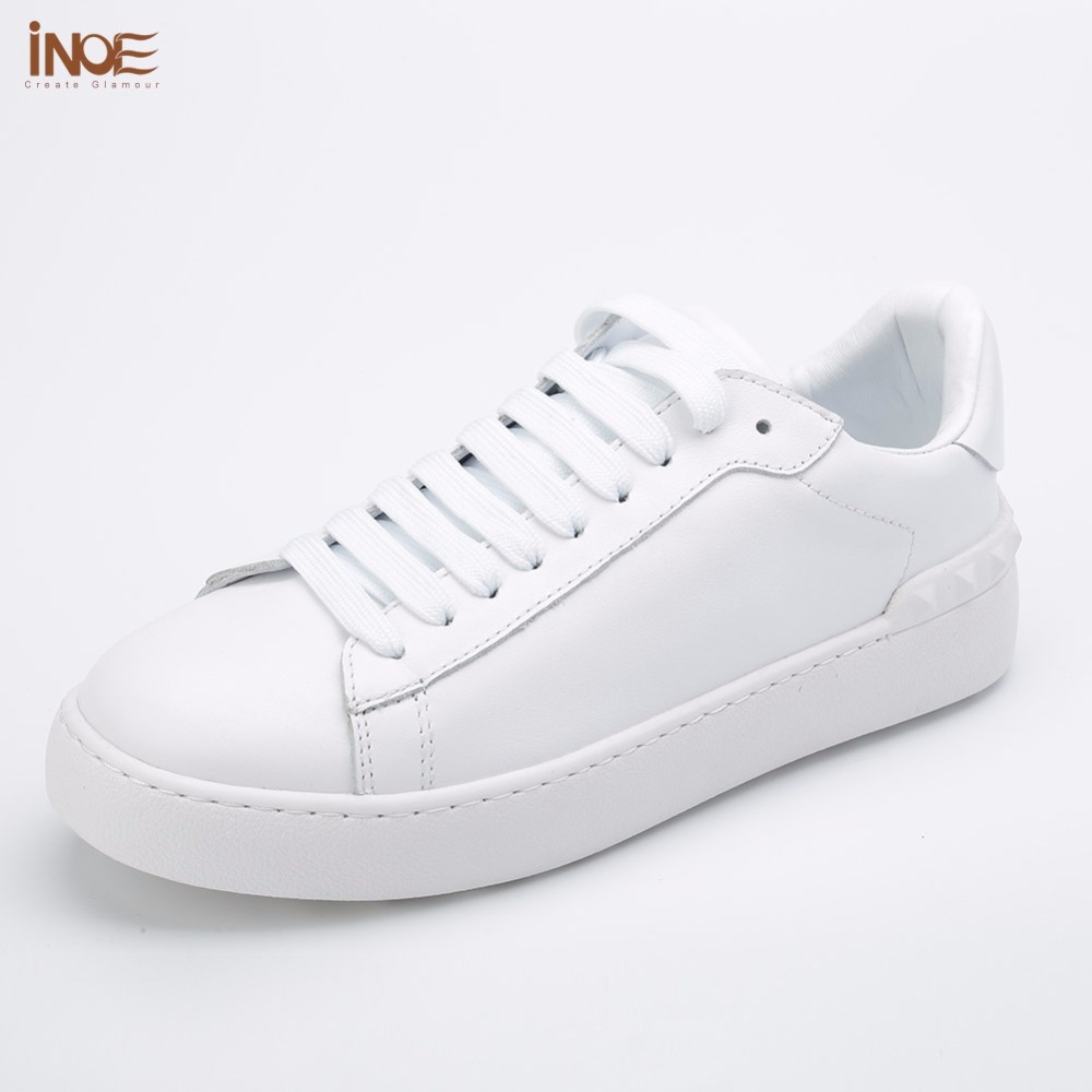 INOE fashion women spring autumn sneakers leisure shoes flats genuine cow leather lace up loafers casual shoes for women white lovexss genuine leather white flats lace up woman girl student shoes 2017 spring autumn loafers shallow crystal flats