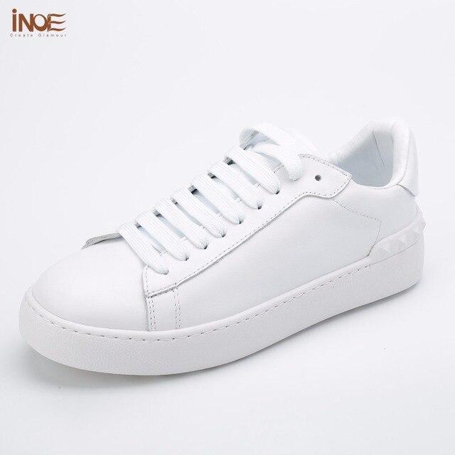 Inoe/Модные женские весна-осень кроссовки обувь для отдыха на плоской подошве из натуральной коровьей кожи на шнуровке Лоферы Повседневные женские туфли Белый