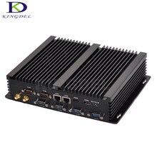 Дешевые i3 безвентиляторный мини настольных pc промышленных мини-компьютер intel Core i3 4030Y Dual LAN 2 * HDMI с 6 RS232 COM Embedded HTPC