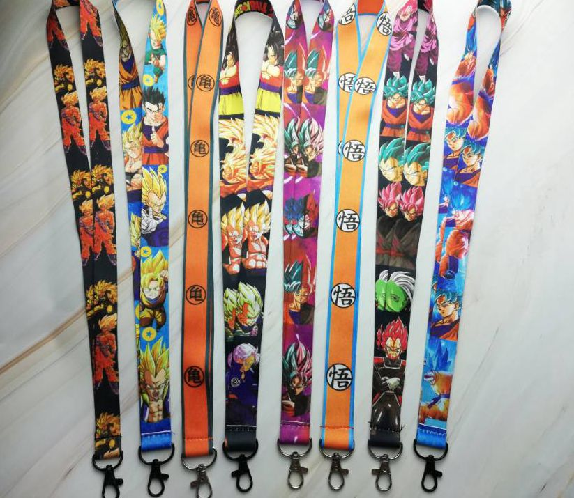 Hot Selling 10 pcs Japanese anime Dragon Ball Z Goku <font><b>Sayajins</b></font> Master R Key Chains Neck Strap Keys Lanyard D-103 image