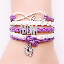 цена на Infinity Leather Charm Bracelet For New Mom Mothers Best Mothers Day Gifts Jewelry Wrap Bracelet