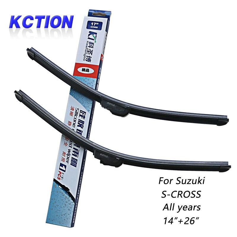 Pare-Brise de voiture D'essuie-Glace Lame Pour Suzuki S-CROSS, 14 + 26, silicone d'essuie-glace, Bracketless, Accessoires de voiture