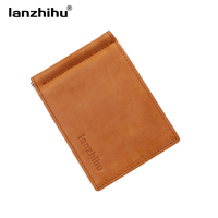 2016 Fashion New Genuine Leather Men Money Clips MINI Wallet For Men Vintage Slim Design Clip