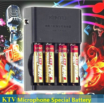 4 pcsKENTLI KTV special 1.5V AA 2800mWh rechargeable lithium battery for wireless microphone rechargeable+ 4 slots quick charger
