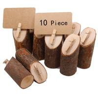 10Pcs/Set Original Ecological Treewood Clip with Round Stake for Wedding Displaying Memo Photo Picture Table Number Cards
