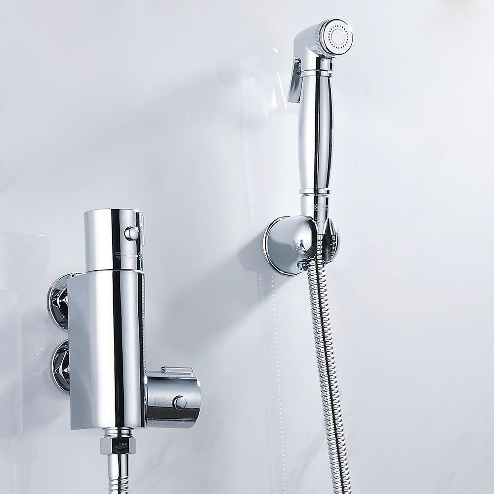 Handheld Bidet Spray Shower Set Copper Toilet Flushing Device Suit Bathroom Wall Mounted Bidet Faucet Set