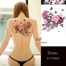 3pcs Large Color Peony Flower Butterfly Designs Temporary Tattoo Stickers Body/back Painting MQA26 Drawings Waterproof Sex Women