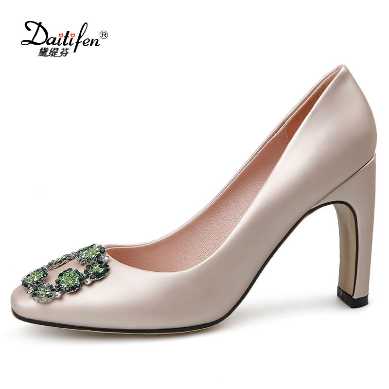 Daitifen Women Strange Style High Heels Wedding Party Elegant Soft Ladies Pumps Concise Slip-on Thick Crystal Buckle Women Pumps 1 design laser cut white elegant pattern west cowboy style vintage wedding invitations card kit blank paper printing invitation