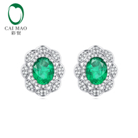 Caimao Classic Retro 18K Au750 White Gold 1 68ctw Natural Emerald Diamond Earrings Studs Gorgeous Jewelry