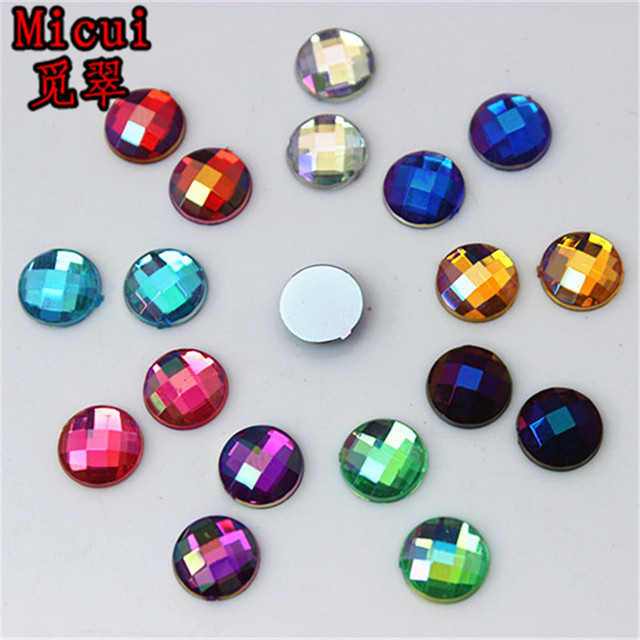 Micui 200PCS 8mm AB Color Round Rhinestone Acrylic Flatback Strass Crystal  Stones For Jewelry Crafts Clothing Decorations ZZ341 820b34a9a897