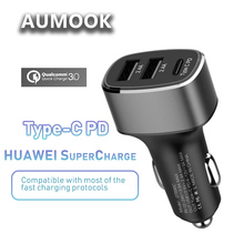 Quick Automotive Charger Three port Kind-C and Double USB port Assist Tremendous Cost QC 3.zero for IPhone XiaoMi Samsung HTC HUAWEI Fast Cost