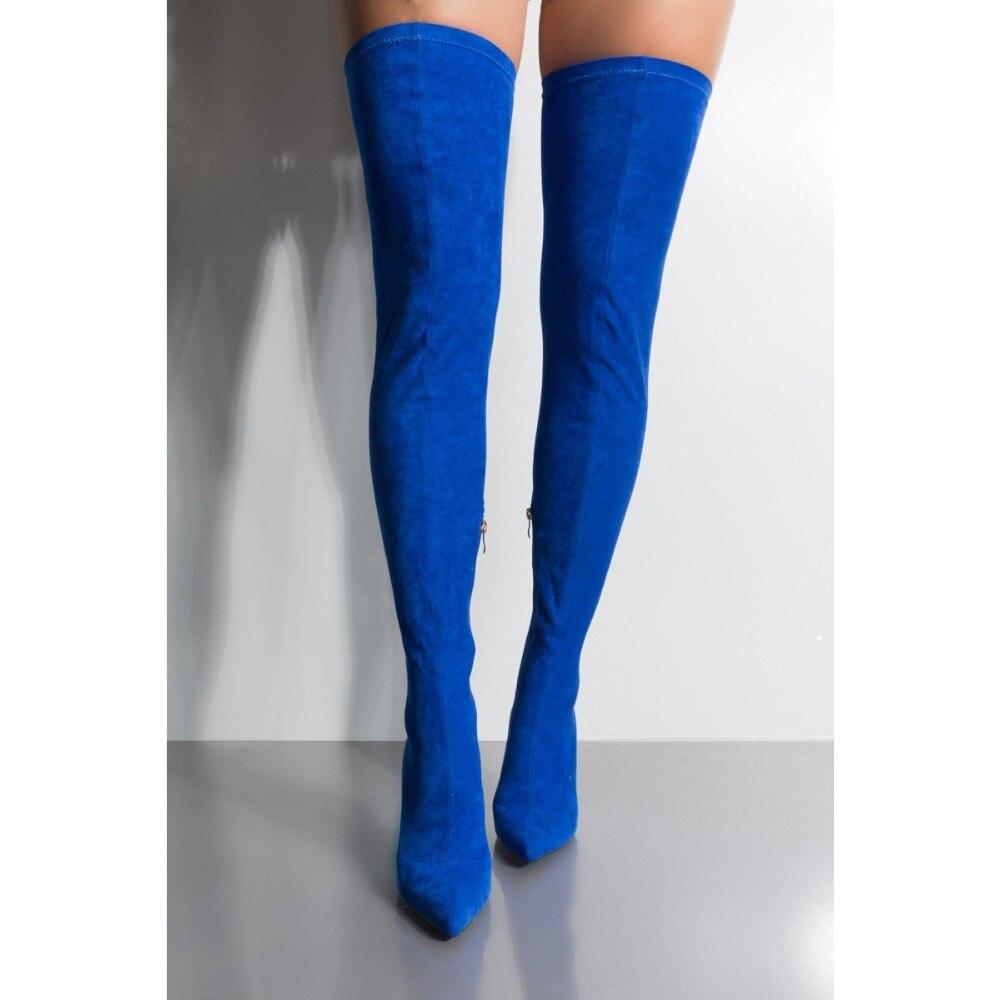 2019 moda elástica azul marino muslo botas altas mujeres gamuza punta sobre la rodilla botas Sexy señoras vestido de fiesta zapatos de las mujeres - 3