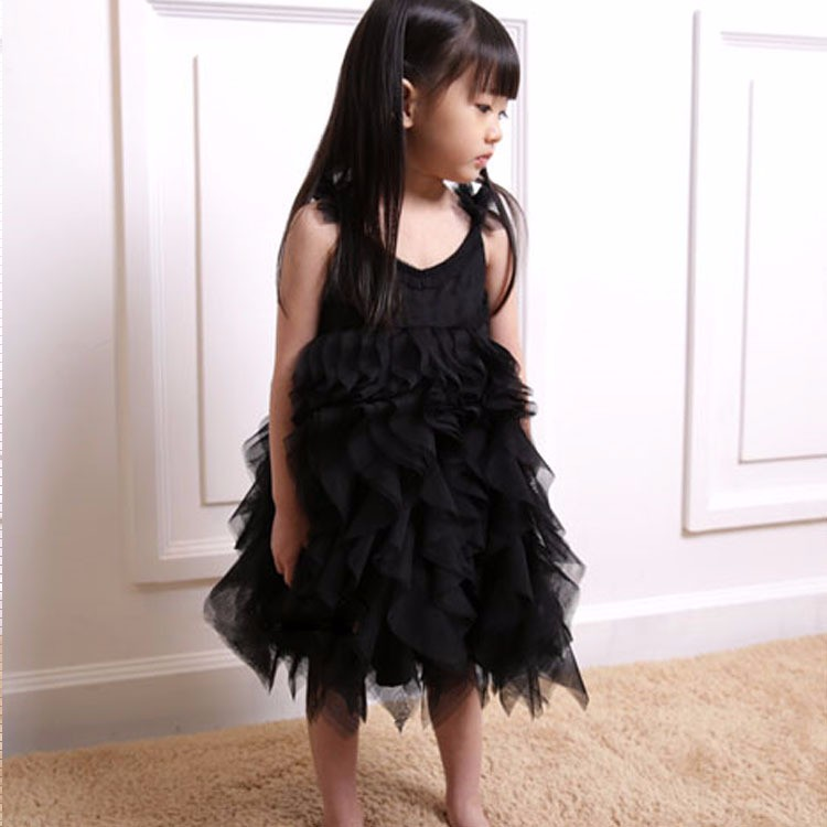 Kids Frocks Neck Designs Flower Girl Net Dresses Black White Children  Dancing Dress 4cd4fc97b