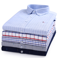 DUDALINA 2019 Top Cotton Quality New Mens Shirts Aramy Camisa oxford Embroidery Long Sleeve Striped plaid casual Dress shirt