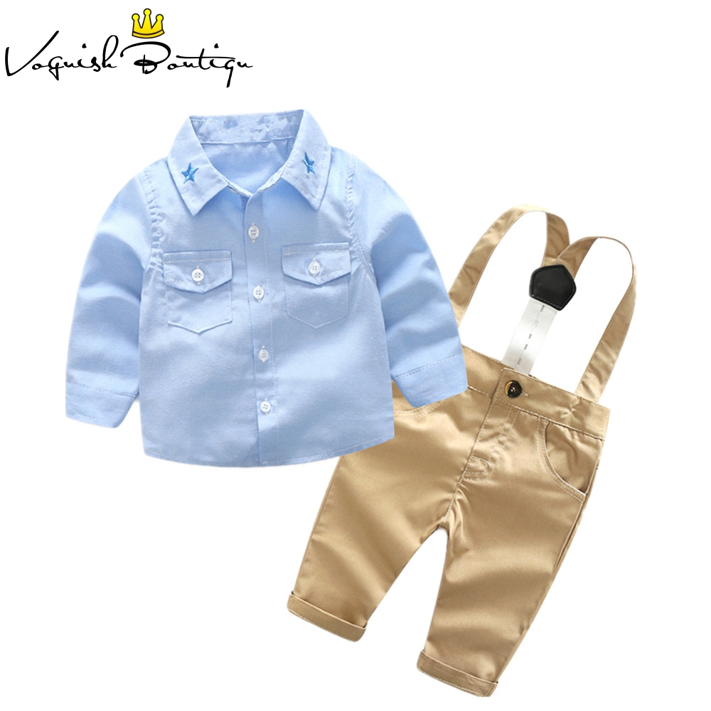 Newborns clothes fashion baby clothing set blue shirt with casual overalls 2pcs/set for baby newborn 2pcs set baby clothes set boy