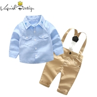 Newborns Clothes Fashion Baby Clothing Set Blue Shirt With Casual Overalls 2pcs Set For Baby Newborn