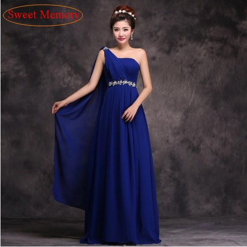 Sweet Memory One Shoulder Summer Bridesmaid Dress Royal Blue Dresses School Party Graduation Gowns T010 In From Weddings