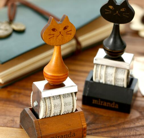 Miranda cat stamps for scrapbooking Stamping Diy scrapbook wood rubber stamp Diary deco carimbo Gift stempels jwhcj vintage cat date wood roller stamps for children diy handmade scrapbook photo album diary book decoration students stamps