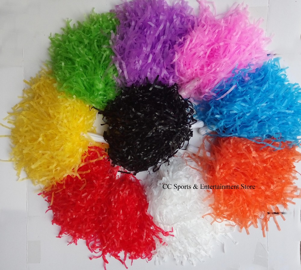 Children 30g plastic PE cheerleading pompom cheerleader pom pom 9 color red blue green white yellow purple pink ballroom costume