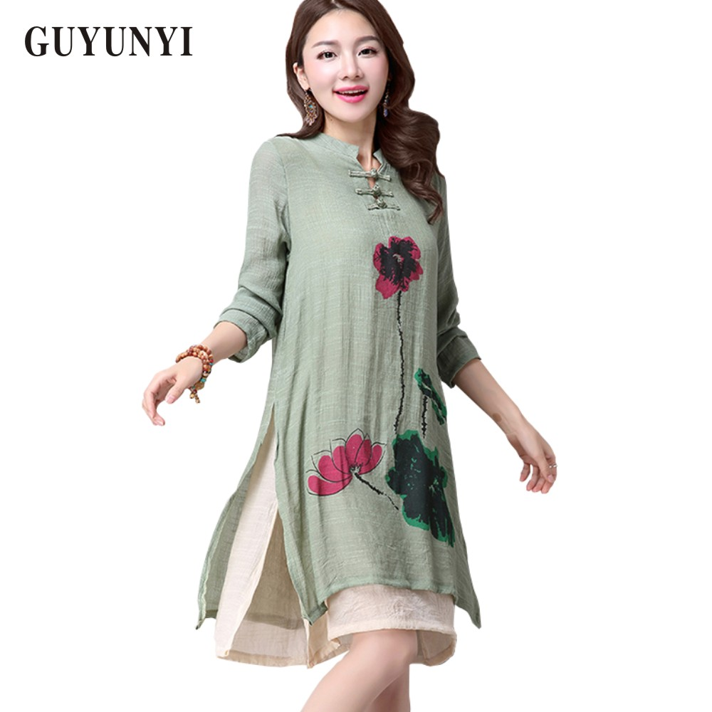 2518c3ed46 2017 Top New Spring Dress Simple Print Casual Cotton And Linen Dress Long  Sleeve Knee Length Vestidos Plus Size Ladies Dresses