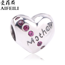 AIFEILI Authentic 925 Sterling Silver Heart Shape Charm Beads Fit Pandora Charm