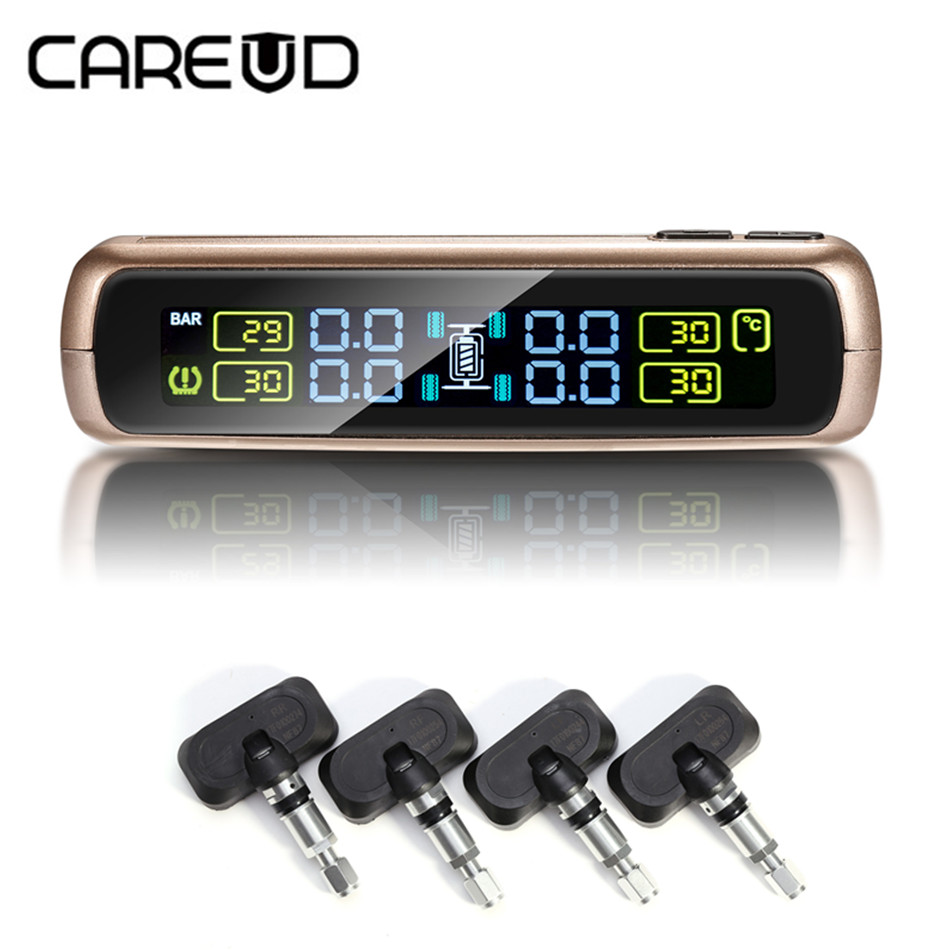 CAREUD Car TPMS Tire Pressure Monitoring System with 4 Internal Sensors  LCD display Solar power Wireless USB charge Auto Alarm careud wireless solar power tpms tire pressure monitoring system auto alarm with 4 sensors for peugeot toyota and all cars