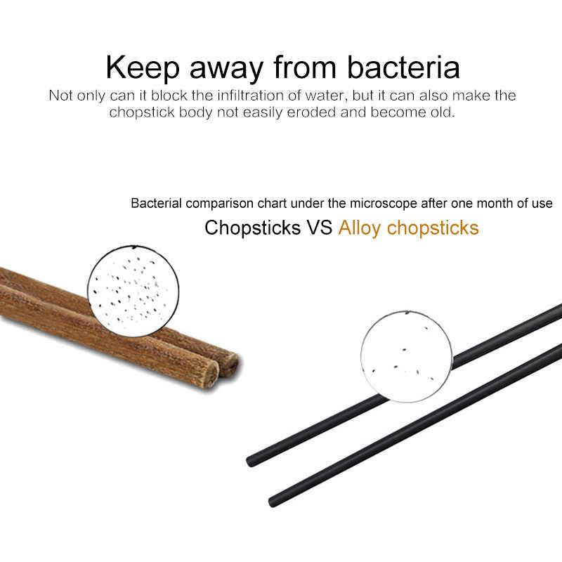 Utensílios de confeitaria portátil, conjunto de varas japonesas antiderrapantes de liga, durável, 1 par bastão chopstick
