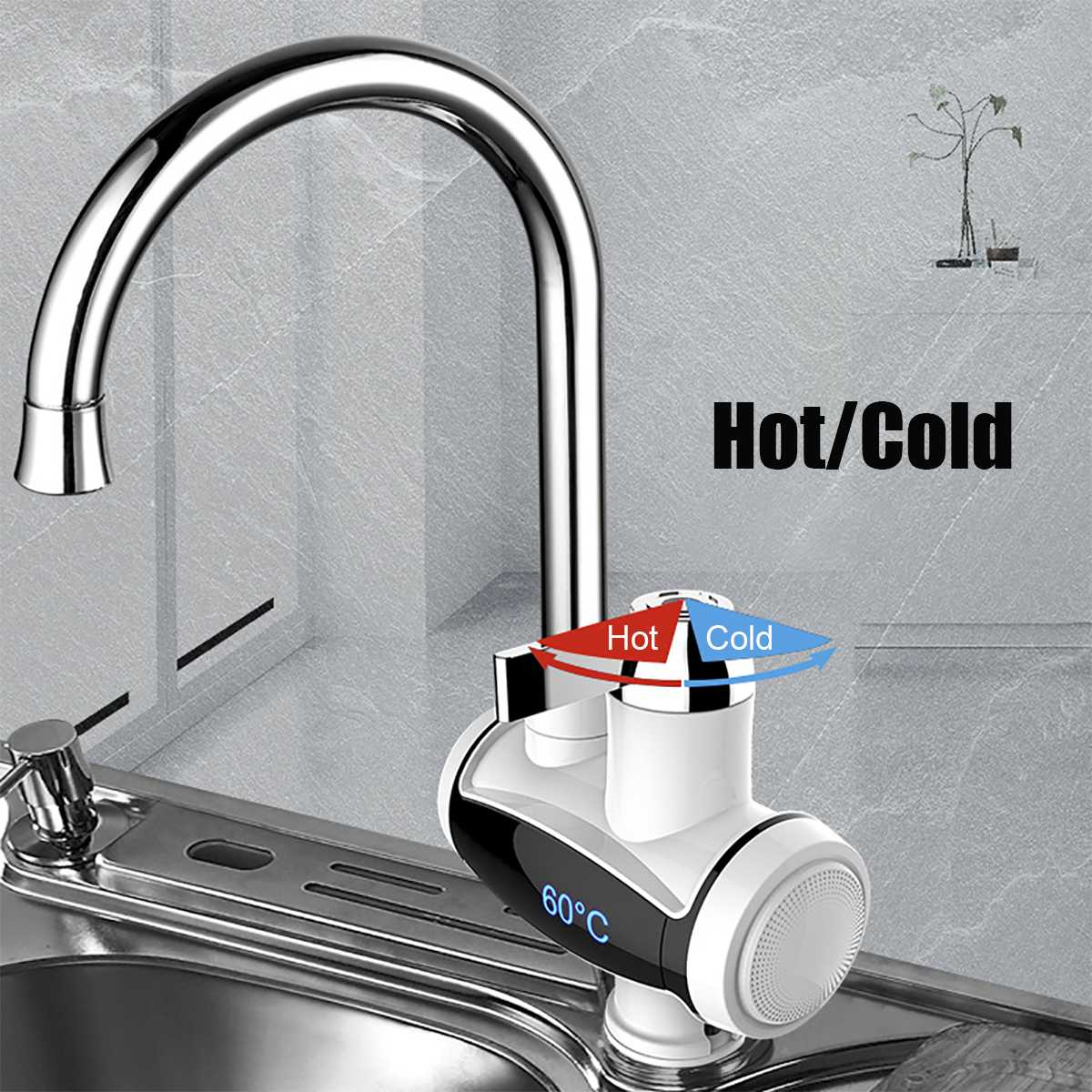 220V 3000W Digital Display Temperature Hot Kitchen Electric Faucet Heater Tap Cold Heating Faucet Instantaneous Water Heater