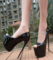 Womens Spring Sexy Prom Patent Leather Black White Red Peep Toe Red Bottom Platform Thin High