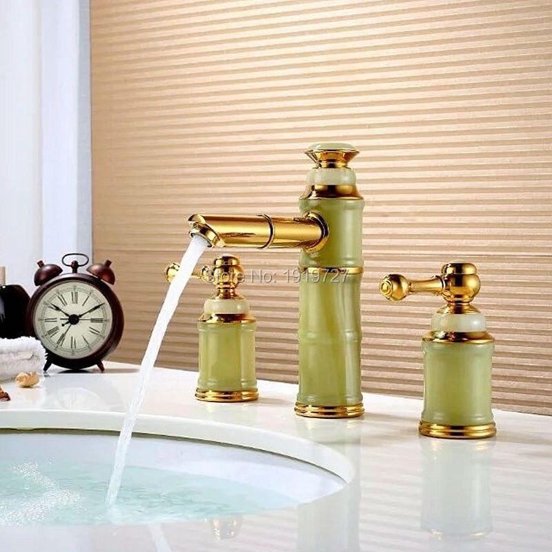 100% Lead Free Brass Antique Unique Design High Quality 3 Piece Golden Mixer Tap Ceramics Gold Plated Triple Sink Fixture