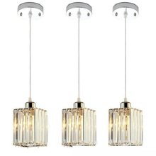 Pendant Lamp Three Lights Crystal Lamps Dining Room Linear Suspension Led Luminaire E27