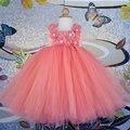 Красивое Персиковое платье с цветочным узором для девочек на свадьбу, платье-пачка с коралловым цветком для девочек наряд для дня рождения ...