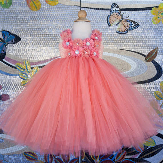 Beautiful Peach Flower Girl Dress for Wedding Party Coral Flower Girl Peach Tutu Dress Girls Birthday Outfit Baby Girl Clothes baby girl easter tutu dress mint green with pink rose girl flower dreas birthday wedding party tutu dress for baby girl