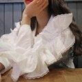 [TWOTWINSTYLE] 2017 Весна Лепесток Рукавом Диких Кружева Тонкий Квадратный Воротник Женщин Рубашка Блузки Топы Новая Мода Clothing