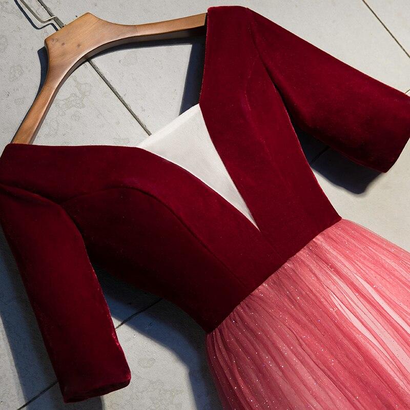 V Moitié Fête Robes Velours Conduites ligne Robe Soirée Carburant Color Mode Picture cou De Manches 2019 Tulle Tenue A m8nvwy0ON