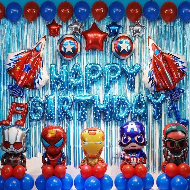 85pcs/lot Superhero Avengers Kids Birthday Party Decorations Ironman Spiderman Helium Foil Balloons Babyshower Kids Toys Gift