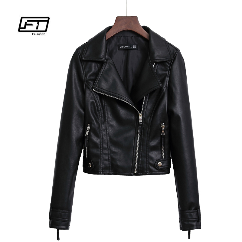 Fitaylor Autumn Black   Leather   Trench Coat Women Slim Faux PU Leahter Jacket Motorcycle Punk Pink Jacket Biker Outwear