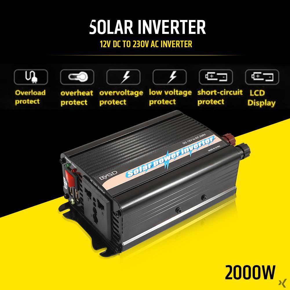 Vehemo 2000W DC12V To AC220V Car Inverter Auto Converter Solar Power Inverter Portable Premium Adapter Aluminum Alloy vehemo 4000w dc12v to ac220v converter truck car power inverter car inverter premium stable automobile usb
