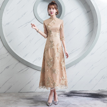 Champagne Summer Women Sexy Flowers Traditional Chinese Embroidery Dress Lace Cheongsam Evening Dress Short Sleeve Qipao Dresses