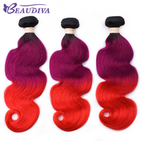 Ombre Human Hair Bundles Body Wave T1B Purple Red Brazilian Hair Weave Bundles 3 Piece Deal 16 26 inch Remy Human Hair Weave