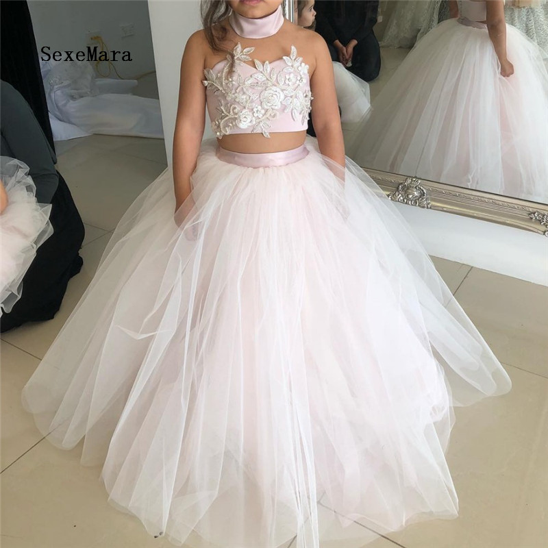 купить Ligh Pink Flower Girl Dresses For Weddings Ball Gown Tulle Lace Pearls Long First Communion Dresses For Little Girls онлайн