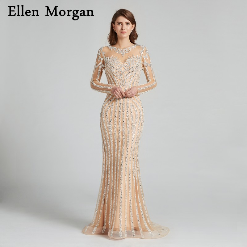 Champagne Mermaid Evening Dresses 2018 Robe De Soiree Major Beading Dubai Caftan Long Sleeves Elegant Formal Prom Party Gowns