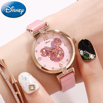 Pretty Girls Minnie Mouse Luxury Bling Crystal Leather Quartz Watches Women Beautiful Bow Little Disney Watch Water resistant