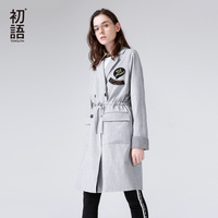 Toyouth 2018 Spring Women Long Trench Coat Loose Turndown Collar Letters Embroidery Coat Drawstrings Double Breasted