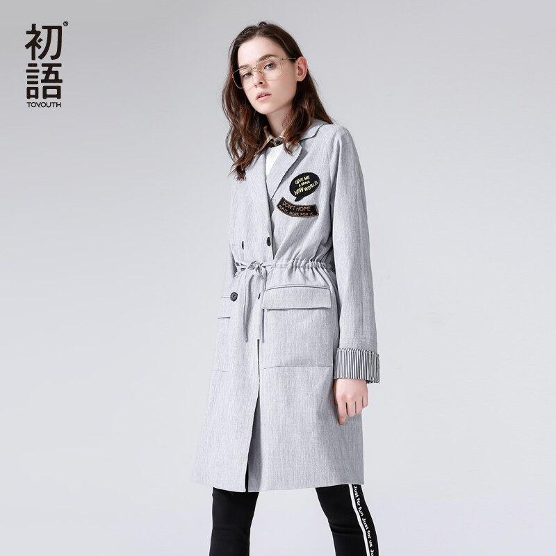Toyouth 2018 весенние женские длинный плащ свободные отложным воротником с вышитой надписью пальто завязки двубортный плащ