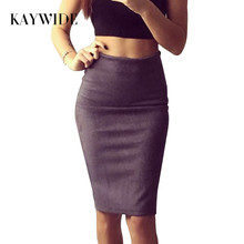 kaywide 2017 women suede midi skirt  spring summer multi color basic tube bodycon pencil skirts saia femininas s161207