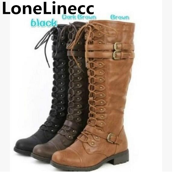 Sexy Lace Up Knee High Boots Women Boots Flats Shoes Woman Square Heel high quality leather Boots Botas Winter rivet High Boots new women sexy lace up knee high boots high square heels women boots winter snow boots casual shoes woman large size 34 46