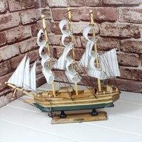 Mediterranean Wooden Sailing Ship Boat Home Furnishings Handmade Boat Model Desktop Crafts Figurines Miniature Birthday Gifts