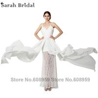 2015 New Lace Applique Chiffon Long Boho Wedding Dresses Robe Mariage Elegant White Floor Length Bridal